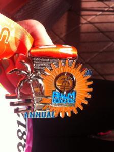 Close up of my 3rd half marathon medal.