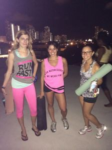 With Monica & Caro after rooftop yoga. Sweaty & happy.