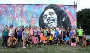 Group shot with Bob Marley.
